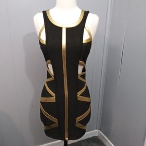 Xtaren Bodycon Dress Black/Gold Sz small
